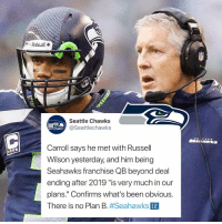 "Few notes from Coach Pete Carroll meeting with the media today.: Seattle Chawks  @Seattlechawks  EATTLECHAWKS  Carroll says he met with Russell  Wilson yesterday, and him being  Seahawks franchise QB beyond deal  ending after 2019 ""is very much in our  plans."" Confirms what's been obvious.  There is no Plan B#Seahawks  12 Few notes from Coach Pete Carroll meeting with the media today."