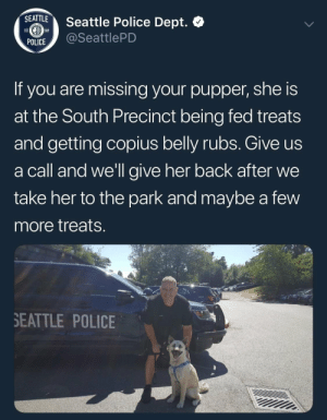 Police, Good, and Seattle: SEATTLE  Seattle Police Dept.  1869  EST  @SeattlePD  POLICE  If  you are missing your pupper, she is  at the South Precinct being fed treats  and getting copius belly rubs. Give us  a call and we'll give her back after we  take her to the park and maybe a few  more treatS  SEATTLE POLICE good police