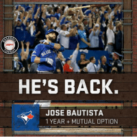 Joey Bats returns to the Toronto Blue Jays on a deal that reportedly pays him more than the $17.2 million offer he initially rejected.: SEB  ESrin  ONIGS  HE'S BACK.  JOSE BAUTISTA  1 YEAR MUTUAL OPTION Joey Bats returns to the Toronto Blue Jays on a deal that reportedly pays him more than the $17.2 million offer he initially rejected.