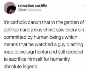 castillo: sebastian castillo  @bartlebytaco  it's catholic canon that in the garden of  gethsemane jesus christ saw every sin  committed by human beings which  means that he watched a guy blasting  rope to waluigi hentai and still decided  to sacrifice himself for humanity.  absolute legend