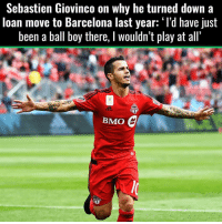 Barcelona, Memes, and Loans: Sebastien Giovinco on why he turned down a  loan move to Barcelona last year: 'I'd have just  been a ball boy there, l Wouldn't play at all  E  BMO Thoughts ❓