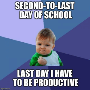 Success Kid Meme - Imgflip: SECOND-TO-LAST  DAY OF SCHOOL  LAST DAY I HAVE  TO BE PRODUCTIVE  imgflip.com Success Kid Meme - Imgflip
