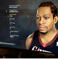 You know I had to come for Iverson too 😂😂😂😂😂: Secondary Position  POINT GUARD  College/From  GEORGETOWN  Birth Month  JUNE  Birth Day  Birth Year  Years Pro  5  Jersey Number  3  Dominant Hand  RIGHT  O Rotate Player O Back  ONY You know I had to come for Iverson too 😂😂😂😂😂