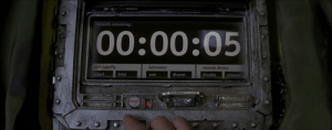 Time, Event Horizon, and Arm: seconds remaining:  00:00:05  unit specify  detonator  remote device  select  time  disarm  disable  release  arm  EPLO In EVENT HORIZON Smith had PLENTY of time to hit the disarm button on the bomb's screen.