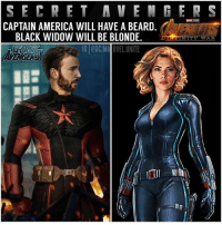 """If you didn't already know… In the AvengersInfinityWar Trailer, you see CaptainAmerica with a Beard and BlackWidow with Blonde Hair ! 😱 This could because they're undercover since SteveRogers, NatashaRomanoff, SamWilson, ScottLang, Hawkeye and ScarletWitch are all technically illegal criminals since TeamCap never signed the government papers in CivilWar. So now I guess they're technically known as the … """" SecretAvengers"""" and are on the run. 🤷🏽♂️ I'm sure after they defeat Thanos in either Avengers : InfinityWar or Avengers4, they'll be recognized as Real Avengers again. Comment Below your Thoughts, I hope we see the Trailer at SDCC2017 next this weekend ! 😍🙌🏽 I NEED THE TRAILER ! MarvelCinematicUniverse 💥 MCU D23 SanDiegoComicCon SDCC ComicCon ( Artists : @barrett.digital & @agustinpz21 ): SECRET AVEN G ER S  CAPTAIN AMERICA WILL HAVE A BEARD.  BLACK WIDOW WILL BE BLONDE.  .-. IG 