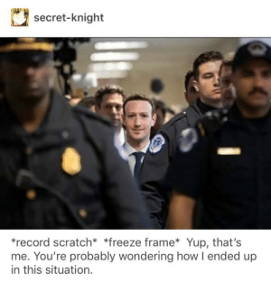 A true Zuckerberg meme.: secret-knight  *record scratch* *freeze frame Yup, that's  me. You're probably wondering how l ended up  in this situation. A true Zuckerberg meme.