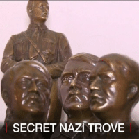 America, Memes, and Party: SECRET NAZI TROVE 21 JUN: A hoard of Nazi memorabilia has been found in South America. Authorities in Argentina have released images of a large hidden stash of artefacts seized during a raid on a home in Buenos Aires. The crafted objects include a bust of Adolf Hitler and an eagle of the Third Reich. Many high-ranking members of the Nazi party fled to Latin America in the aftermath of World War Two. The Argentine authorities say that the objects will be donated to the Holocaust Museum in Buenos Aires. For more: bbc.in-nazi Nazi Argentina SouthAmerica BBCShorts BBCNews @BBCNews