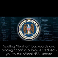 "SECURI  STATES of  Spelling illuminati"" backwards and  adding "".com"" in a browser redirects  you to the official NSA website. WHAT?! 😱"