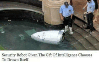 The Gift, What Is, and Robot: Security Robot Given The Gift Of Intelligence Chooses  To Drown Itself What is my purpose? You patrol
