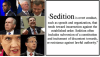 """Resistance, Subversion, and Order: Sedition is overt onduct,  such as speech and organization, that  tends toward insurrection against the  established order. Sedition often  includes subversion of a constitutiorn  and incitement of discontent towards,  or resistance against lawful authority."""""""