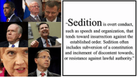 """Constitution, Resistance, and Subversion: Seditionis overt conduct,  such as speech and organization, that  tends toward insurrection against the  established order. Sedition often  includes subversion of a constitution  and incitement of discontent towards,  or resistance against lawful authority.""""  LT SEDITION"""