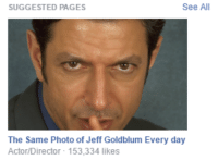 me_irl: See All  SUGGESTED PAGES  The Same Photo of Jeff Goldblum Every day  Actor/Director 153,334 likes me_irl