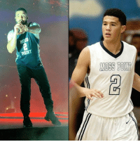 "Drake, Memes, and School: ""See the shots that I took, wet like I'm Book""  Drake wearing Devin Booker's Moss Point high school jersey! https://t.co/s1z9zVa7Ku"