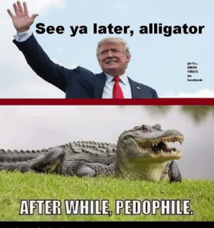 Facebook, Alligator, and Union: See ya later, alligator  go to...  UNION  THUGS  on  facebook  AFTER WHILE, PEDOPHILE