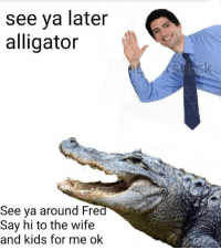Memes, Alligator, and Kids: see ya later  alligator  See ya around Fre  Say hi to the wife  and kids for me ok What a polite gator 🐊 👋