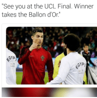"""Who will win it this year? 😎: """"See you at the UCL Final. Winner  takes the Ballon d'Or.""""  GYA  ecc Who will win it this year? 😎"""