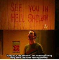 "The Big Bang Theory: ""See you in hell Sheldon. The most frightening  thing about that is the missing comma! The Big Bang Theory"