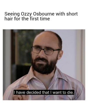 Seeing Ozzy Osbourne With Short Hair For The First Time I Have Decided Thatl Want To Die Ozzy Osbourne Meme On Me Me