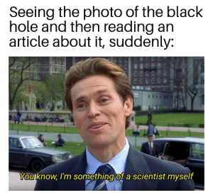 OC. First timer, long time lurker.: Seeing the photo of the black  hole and then reading an  article about it, suddenly:  You know, I'm something of a scientist myself OC. First timer, long time lurker.