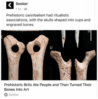 """Bones, Memes, and Time: Seeker  1 hr  Prehistoric cannibalism had ritualistic  associations, with the skulls shaped into cups and  engraved bones.  Prehistoric Brits Ate People and Then Turned Their  Bones Into Art  Seeker Remember this next time people wanna go all """"Mel Gibson"""" on our mesoamerican ancestors"""