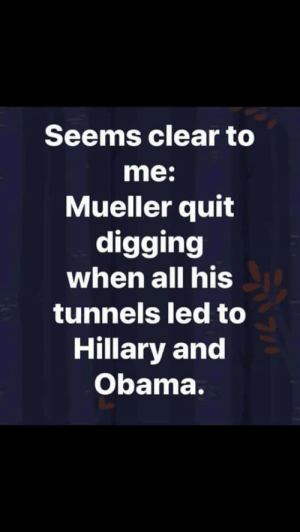 Obama, Led, and All: Seems clear to  me:  Mueller quit  digging  when all his  tunnels led to  Hillary and  Obama. #LockThemUp