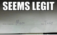 Dating, Memes, and Parents: SEEMS LEGIT  Parent signature:  Date