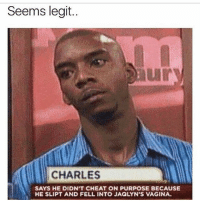 Memes, Trap, and Vagina: Seems legit.  uI  CHARLES  SAYS HE DIDN'T CHEAT ON PURPOSE BECAUSE  HE SLIPT AND FELL INTO JAQLYN'S VAGINA Be woke kinds thots be trying to trap us for the gold mine