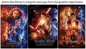 thegaysassyfrenchy:I deadass thought this was 3 Star Wars movies : Seems like Disney is using the same guy from the graphics department.  steh  THE ORCE AWAKENS  DARK  PHOENIC thegaysassyfrenchy:I deadass thought this was 3 Star Wars movies
