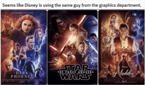 Disney, Star Wars, and Star: Seems like Disney is using the same guy from the graphics department.  STAR  WARS  Alndelin  DARK  PHOENIO  THE FORCE AWAKENS  Mor