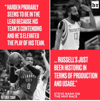 """Oklahoma, Steve Nash, and Today: SEEMS TO BEIN THE  LEADBECAUSEHIS  TEAM SCONTENDING  ANDHETSELEVATED  THE PLAY OF HIS TEAM  OKLAHOMA  CITY  HIT USA TODAY  br  ROCKETS  RUSSELLSJUST  BEENHISTORICIN  TERMS OF PRODUCTION  ANDUSAGE""""  STEVE NASH ON  THE MVP RACE Steve Nash breaks down the MVP race."""