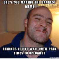 Dankest: SEE'S YOU  MAKING THE DANKEST  MEME  REMINDS YOU TO WAIT  UNTIL PEAK  TIMES TO UPLOAD IT  made on imgur