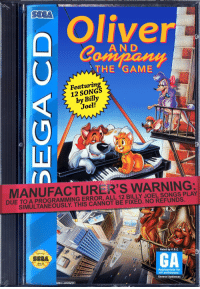 """The Game, Tumblr, and Blog: SEGA  Oliver  A N D  THE GAME  Featuring  12 SONGS  by Billy  Joel!  CD  MANUFACTURER'S WARNING:  DUE TO A PROGRAMMING ERROR, ALL 12 BILLY JOEL SONGS PLAY  SIMULTANEOUSLY. THIS CANNOT BE FIXED. NO REFUNDS.  Rated by V.R.С  SEGA  GA  Appropriate for  all audiences.  General Audiences  NEDAI Δ1inIENCES <p><a href=""""http://hyratel.tumblr.com/post/165032205202/genatrius-what-this-sounds-like-the-opposite-of"""" class=""""tumblr_blog"""">hyratel</a>:</p><blockquote> <p><a href=""""https://genatrius.tumblr.com/post/165031279992/what"""" class=""""tumblr_blog"""">genatrius</a>:</p> <blockquote><p>What?</p></blockquote> <p>this sounds like the opposite of a problem</p> </blockquote>"""