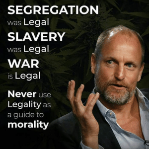 Memes, Morality, and Never: SEGREGATION  was Legal  SLAVERY  was Legal  WAR  is Legal  Never use  Legality as  a guide to  morality Legal does not make it right.