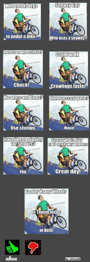 Image - 405620] | Happy Wheels | Know Your Meme: Segway Guy  Who needs legs  to pedal a bike  Who uses a segway?  Rockets on wheelchairs?  Could walk  Check!  Crawlings faster  No arms and legs?  Unnecessary gore?  Use stumps  Nope  Have i been playing  for5 hours?  Spentwhole day  On Jand Happy Wheels?  Great day!  Yep  Goplay Happy Wheels  or Thumb foroc  or both  by JohansB  FOR MORE!!! Image - 405620] | Happy Wheels | Know Your Meme