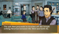 Persona 4 Seinfeld crossover when?: Seinfeld  The spit then proceeds to ricochet off the temple  striking Newman between the third and forth rib. Persona 4 Seinfeld crossover when?