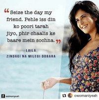 Goals, Life, and Memes: Seize the day my  friend. Pehle iss din  ko poori tarah  jiyo, phir chaalis ke  baare mein sochna. 99  LAILA  ZINDAGI NA MILEGI DOBARA  f womaniyeah  t owomaniyeah Repost from @owomaniyeah ・・・ Celebrating 6 years of Zindagi Na Milegi Dobara, the movie which gave us life, friendship and travel goals. ZNMD