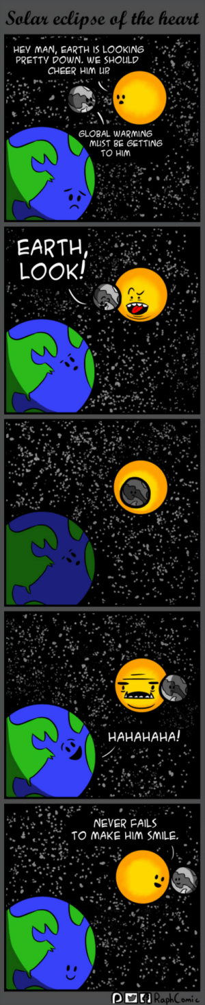 "Global Warming, Life, and Earth: Selar eclipse of the heart  HEY MAN, EARTH IS LOOKING-.  PRETTY DOWN, WE SHOULD  .  CHEER HIM UP  GLOBAL WARMING ..""*i  MUST BE GETTING :  TO HIM  EARTH  LOOK!  HAHAHAHA!  NEVER FAILS  RaphComi Always look on the bright side of life"