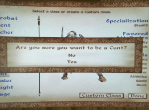 me_irl: Select a class or create a custom class  robat  ent  cher  Specialization  Stealth  Favored  ty  Are you sure you want to be a Cunt?  ck  No  ls  Cs  es  on  er  Athletics  Blade  Blunt  aler  ight  Custom Class  Don me_irl