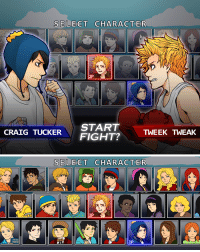 """asce:   Finally finished my first print for Fanime/AnimeNext/whatever!!! Wanted to do a mock SP fighting game…thing deviantArt link over here Bottom image is all of the """"playable characters""""  : SELECT CHARACTER  2P  1P  STARTTWEEK TWEAK  CRAIG TUCKERFIGHT?   SELECT CHARACTER  2P  1P asce:   Finally finished my first print for Fanime/AnimeNext/whatever!!! Wanted to do a mock SP fighting game…thing deviantArt link over here Bottom image is all of the """"playable characters"""""""