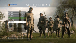 Charlie, Squad, and Army: SELECT SQUAD  FRIENDLY FORCES  EMPIRE'S EDGE I CONQUEST  KINGDOM OF İTALY  o krunch em  APPLES  BUTTER  CHARLIE  DUFF  EDWARD  SQUAD FULL  솔 3/5  SQUAD FULL  4/5  2/5  4/5  + Roy Munson86  sbush308  FREDDIE  GEORGE  HARRY  3/5  2/5  VIEw SQUAD  O BACK-囚SWITCH TEAM Royal Italian Army >>>