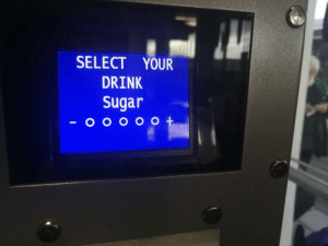 Coffee, Sugar, and Think: SELECT YOUR  DRINK  Sugar I think this coffee machine is flirting with me