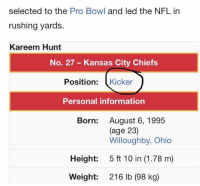 Football, Internet, and Kansas City Chiefs: selected to the Pro Bowl and led the NFL in  rushing yards.  Kareem Hunt  No. 27- Kansas City Chiefs  Position: Kicker  Personal information  Born:  August 6, 1995  (age 23)  Willoughby, Ohio  Height:  5 ft 10 in (1.78 m)  Weight:  216 lb (98 kg) The Internet works fast 🤣😂😂🤣🤣 https://t.co/cFZs74FKjK
