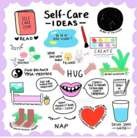 Friends, Nature, and Time: Self-Care  SELF  CARE  ZINE  AT THE ST  Be IN er  NEAR water!  SPEND  CREAT  TAKE  YOUR MEDS  TIME WITH  FURRY  FRIENDS  FINO BALANCE  YOGA-MEDITATE  G8 BUT IN NATURE  SAY NO  WHEN You  NEEDTO0  TALK TO FOENDSDRAW  LAUGH-JOKE  EAT  OR  SHoW  YOURSELF KIND  NAP  DRINK SOME