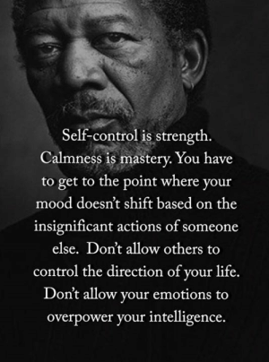 <3: Self-control is strength.  Calmness is mastery. You have  to get to the point where your  mood doesn't shift based on the  insignificant actions of someone  else. Don't allow others  control the direction of your life.  Don't allow your emotions to  overpower your intelligence. <3
