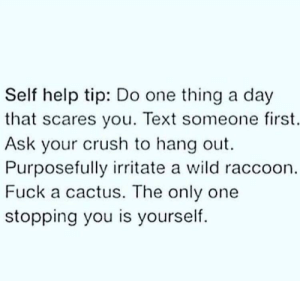 Crush, Fuck, and Help: Self help tip: Do one thing a day  that scares you. Text someone first.  Ask your crush to hang out.  Purposefully irritate a wild raccoon  Fuck a cactus. The only one  stopping you is yourself meirl