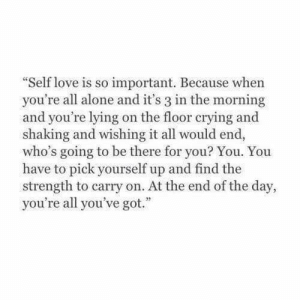Being Alone, Crying, and Love: Self love is so important. Because when  you're all alone and it's 3 in the morning  and you're lying on the floor crying and  shaking and wishing it all would end,  who's going to be there for you? You. You  have to pick yourself up and find the  strength to carry on. At the end of the day,  you're all you've got.""