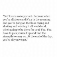 "Being Alone, Crying, and Love: Self love is so important. Because whern  you're all alone and it's 3 in the morning  and you're lying on the floor crying and  shaking and wishing it all would end  who's going to be there for you? You. You  have to pick yourself up and find the  strength to carry on. At the end of the day,  you're all you've got.""  35"