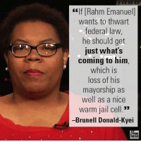 """Chicago, Friends, and Jail: self Rahm Emanuel  wants to thwart  federal law  he should get  just what's  coming to him,  which is  loss of his  mayorship as  well as a nice  Warm jail cell.""""  -Brunell Donald-Kyei On """"FOX & Friends Weekend,"""" Brunell Donald-Kyei slammed Mayor Rahm Emanuel for keeping Chicago a sanctuary city."""