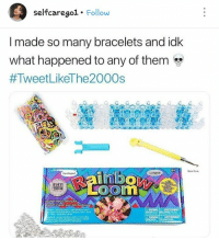 Credit to @selfcarego1 on ig: selfcaregol. Follow  I made so many bracelets and idk  What happened to any of them  #TweetLikeThe2000s  Mat eek  Loom  12014 Credit to @selfcarego1 on ig