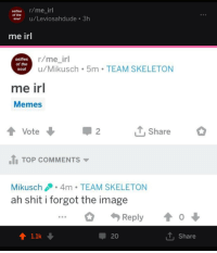 R Me Irl: selfies r/me_irl  of the  sou u/Leviosahdude 3h  me irl  selfies  of the  soul  r/me_irl  u/Mikusch 5m TEAM SKELETON  me irl  Memes  ↑ Vote ↓  Share  2  TOP COMMENTS ▼  Mikusch.4m TEAM SKELETON  ah shit i forgot the image  Reply  o  20  T. Share